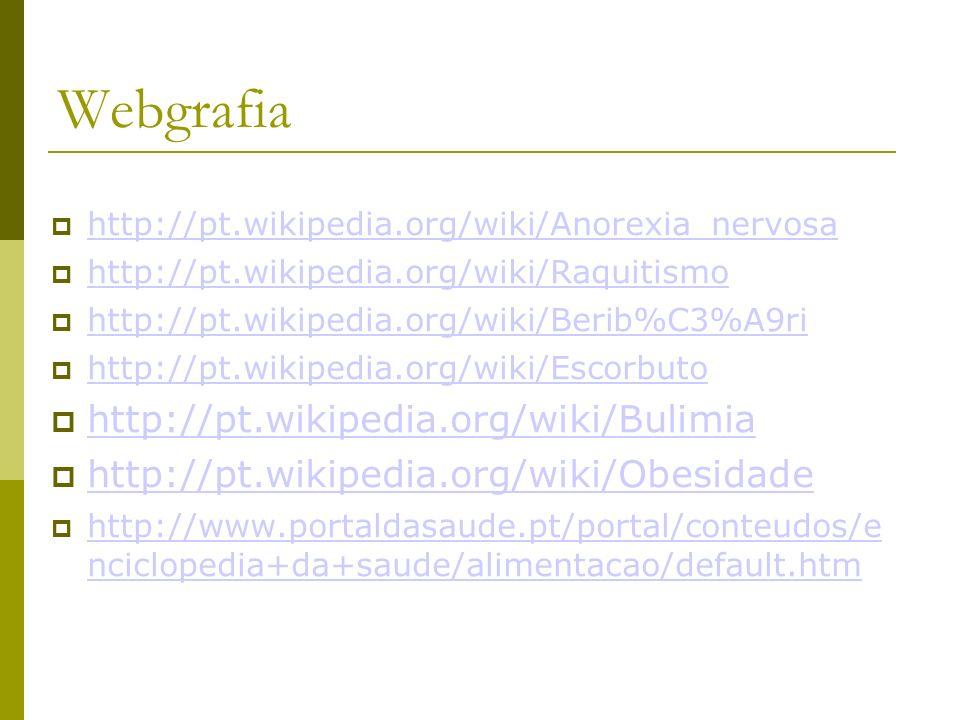 Webgrafia http://pt.wikipedia.org/wiki/Anorexia_nervosa http://pt.wikipedia.org/wiki/Raquitismo http://pt.wikipedia.org/wiki/Berib%C3%A9ri http://pt.wikipedia.org/wiki/Escorbuto http://pt.wikipedia.org/wiki/Bulimia http://pt.wikipedia.org/wiki/Obesidade http://www.portaldasaude.pt/portal/conteudos/e nciclopedia+da+saude/alimentacao/default.htm