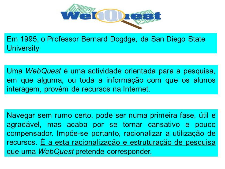 Uma WebQuest é uma actividade orientada para a pesquisa, em que alguma, ou toda a informação com que os alunos interagem, provém de recursos na Intern