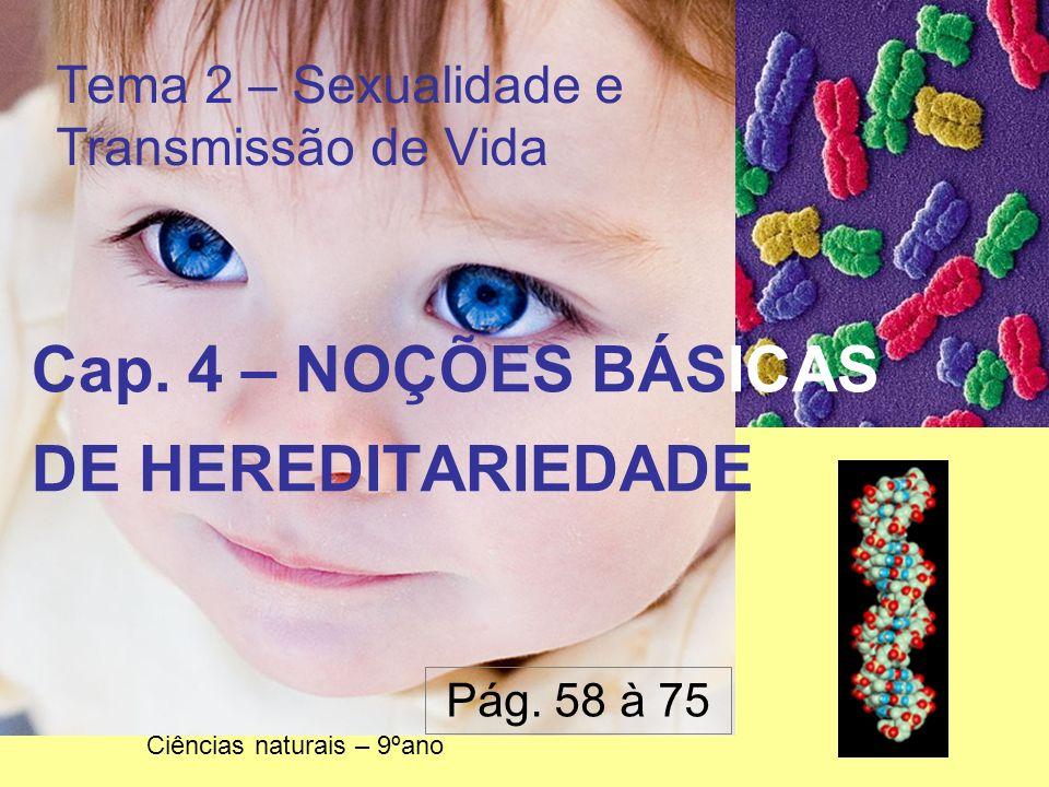 Tema 2 – Sexualidade e Transmissão de Vida Cap. 4 – NOÇÕES BÁSICAS DE HEREDITARIEDADE Ciências naturais – 9ºano Pág. 58 à 75