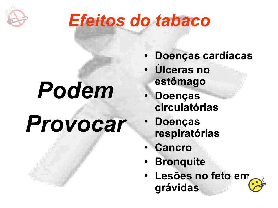 Efeitos do tabaco Podem Provocar Doenças cardíacas Úlceras no estômago Doenças circulatórias Doenças respiratórias Cancro Bronquite Lesões no feto em