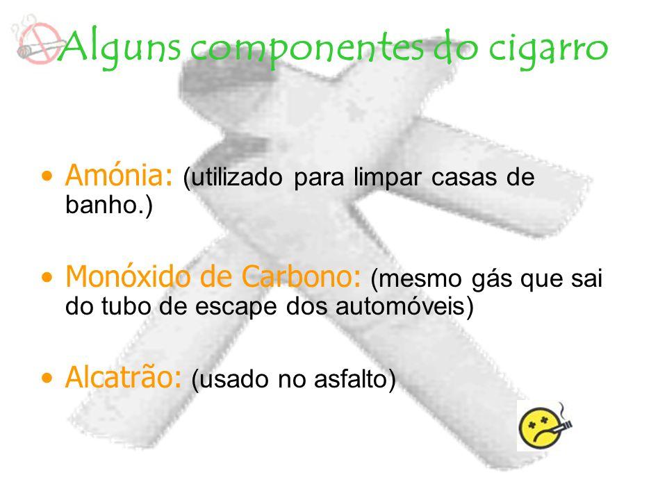 Alguns componentes do cigarro Amónia: (utilizado para limpar casas de banho.) Monóxido de Carbono: (mesmo gás que sai do tubo de escape dos automóveis