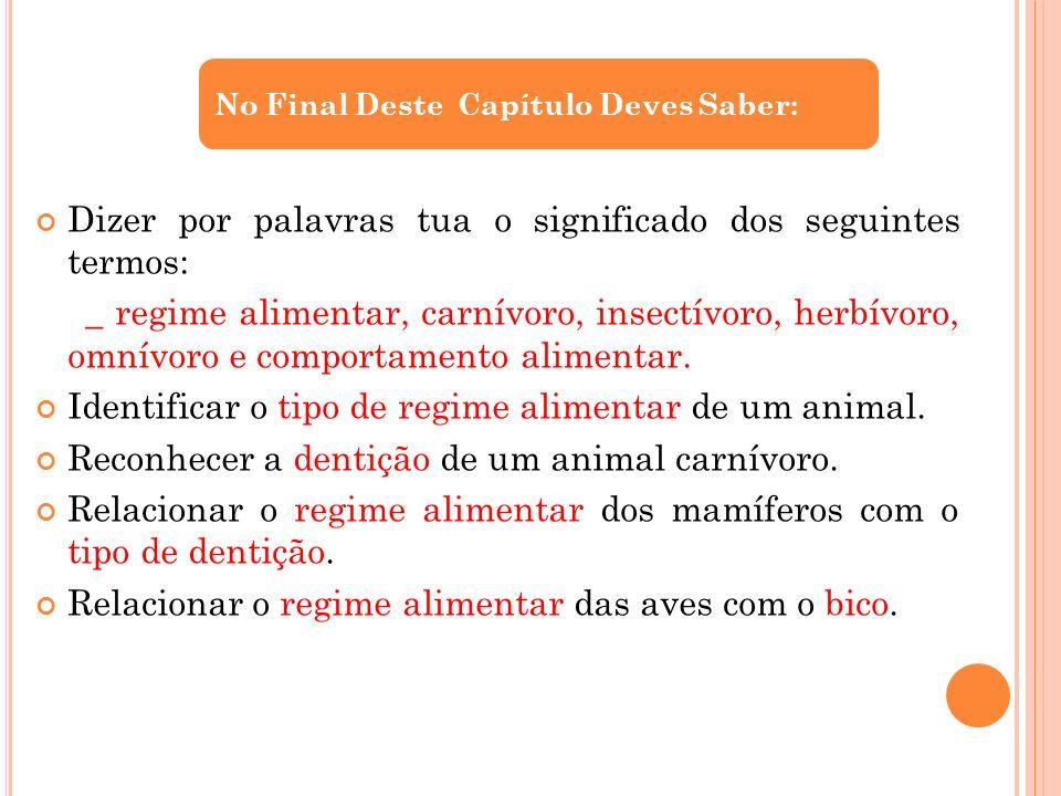 Dizer por palavras tua o significado dos seguintes termos: _ regime alimentar, carnívoro, insectívoro, herbívoro, omnívoro e comportamento alimentar.