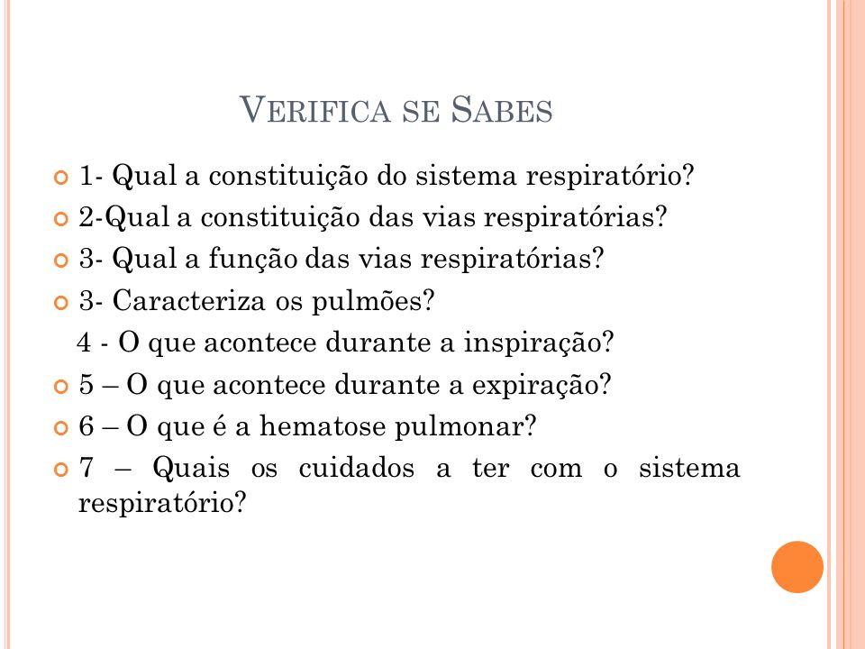 V ERIFICA SE S ABES 1- Qual a constituição do sistema respiratório? 2-Qual a constituição das vias respiratórias? 3- Qual a função das vias respiratór