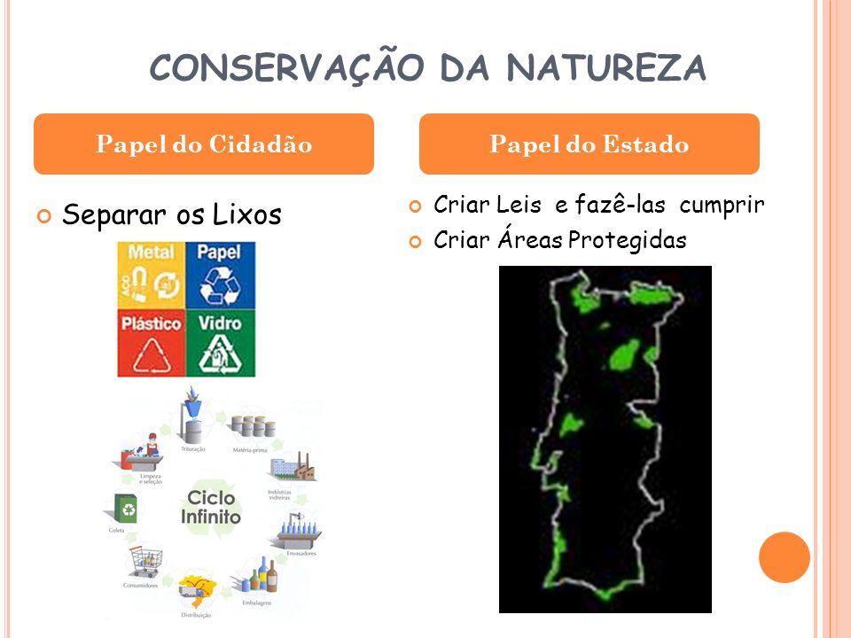 CONSERVAÇÃO DA NATUREZA Separar os Lixos Criar Leis e fazê-las cumprir Criar Áreas Protegidas Papel do CidadãoPapel do Estado