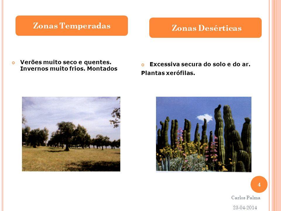 Verões muito seco e quentes. Invernos muito frios. Montados Excessiva secura do solo e do ar. Plantas xerófilas. Zonas Temperadas Zonas Desérticas 23-