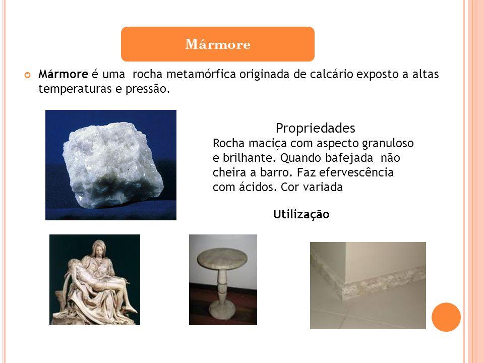Mármore é uma rocha metamórfica originada de calcário exposto a altas temperaturas e pressão. Mármore Propriedades Rocha maciça com aspecto granuloso
