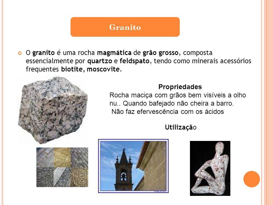 O granito é uma rocha magmática de grão grosso, composta essencialmente por quartzo e feldspato, tendo como minerais acessórios frequentes biotite, mo