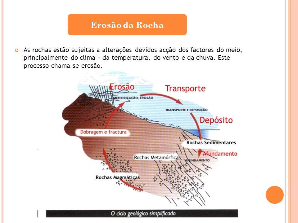 As rochas estão sujeitas a alterações devidos acção dos factores do meio, principalmente do clima – da temperatura, do vento e da chuva. Este processo