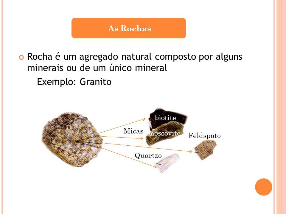 Rocha é um agregado natural composto por alguns minerais ou de um único mineral Exemplo: Granito As Rochas Micas Feldspato Quartzo biotite moscovite