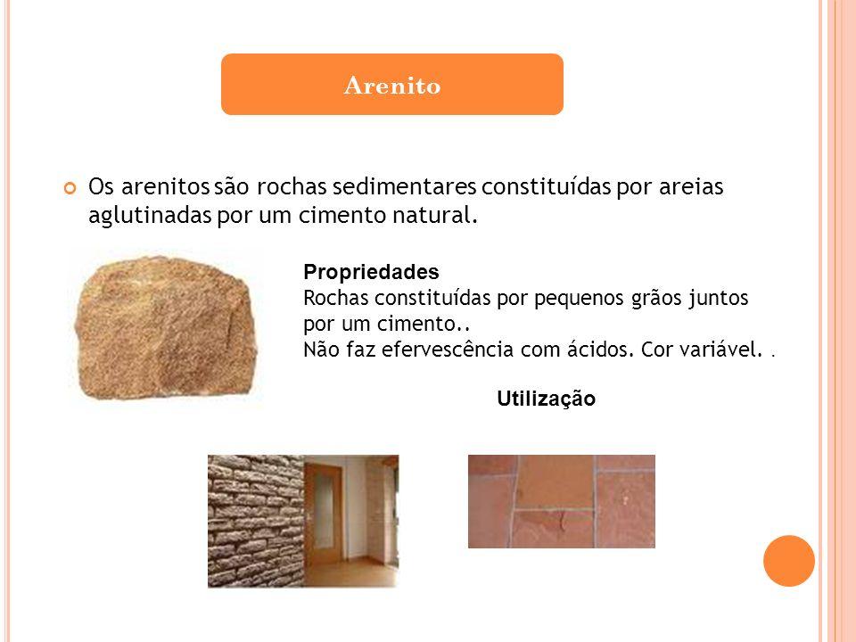 Os arenitos são rochas sedimentares constituídas por areias aglutinadas por um cimento natural. Arenito Propriedades Rochas constituídas por pequenos