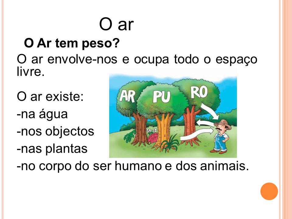 O ar envolve-nos e ocupa todo o espaço livre. O ar existe: -n-na água -n-nos objectos -n-nas plantas -n-no corpo do ser humano e dos animais. O Ar tem