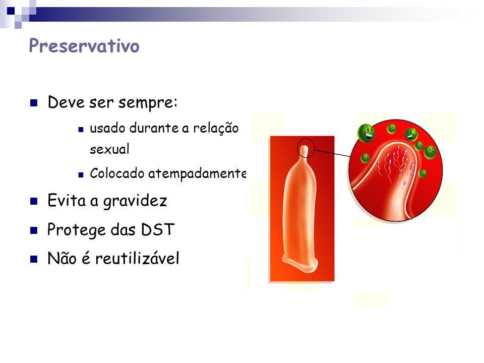 Preservativo Deve ser sempre: usado durante a relação sexual Colocado atempadamente Evita a gravidez Protege das DST Não é reutilizável