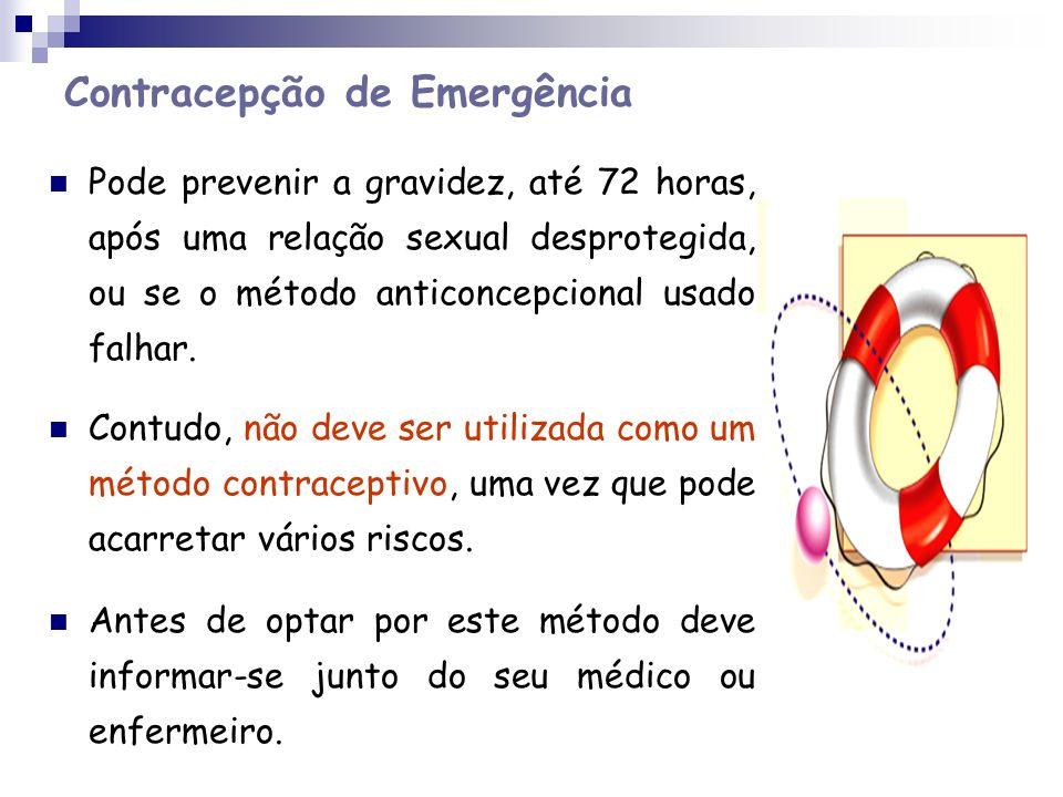 Contracepção de Emergência Pode prevenir a gravidez, até 72 horas, após uma relação sexual desprotegida, ou se o método anticoncepcional usado falhar.