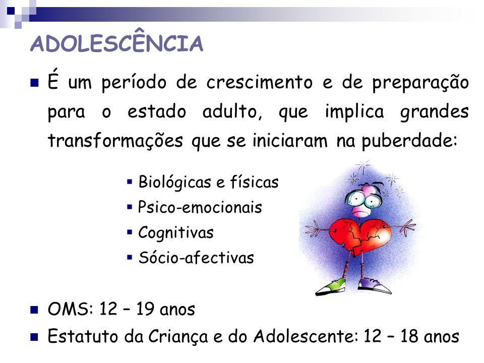 ADOLESCÊNCIA É um período de crescimento e de preparação para o estado adulto, que implica grandes transformações que se iniciaram na puberdade: Bioló