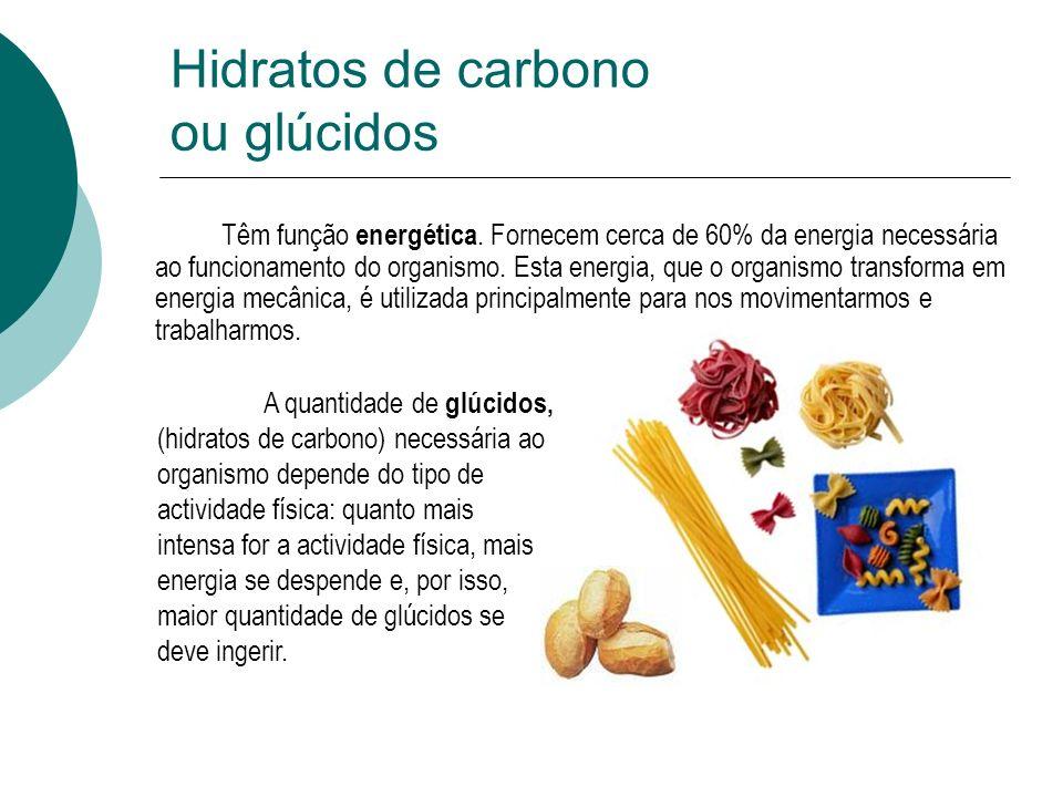 Hidratos de carbono ou glúcidos Têm função energética. Fornecem cerca de 60% da energia necessária ao funcionamento do organismo. Esta energia, que o