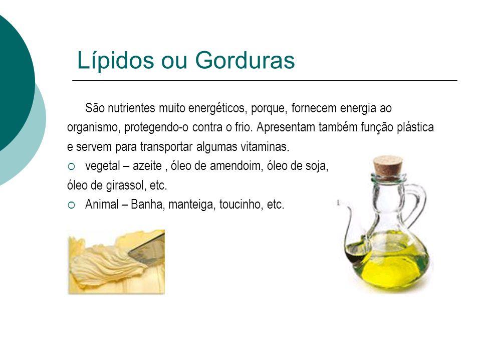 Lípidos ou Gorduras São nutrientes muito energéticos, porque, fornecem energia ao organismo, protegendo-o contra o frio. Apresentam também função plás