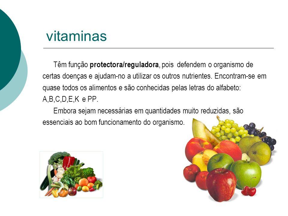vitaminas Têm função protectora/reguladora, pois defendem o organismo de certas doenças e ajudam-no a utilizar os outros nutrientes. Encontram-se em q