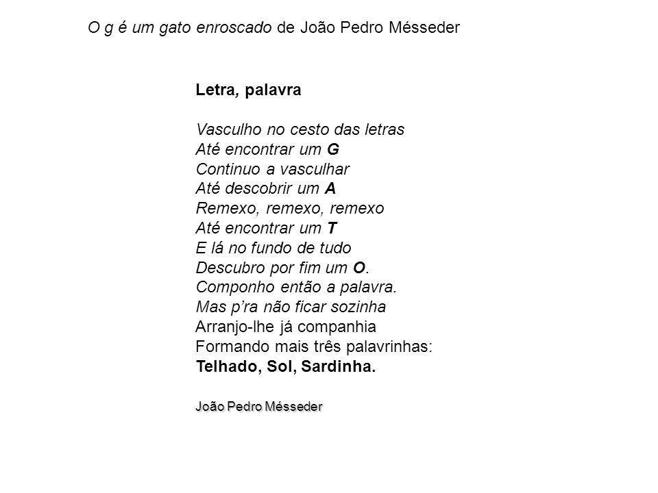 O g é um gato enroscado de João Pedro Mésseder Letra, palavra Vasculho no cesto das letras Até encontrar um G Continuo a vasculhar Até descobrir um A