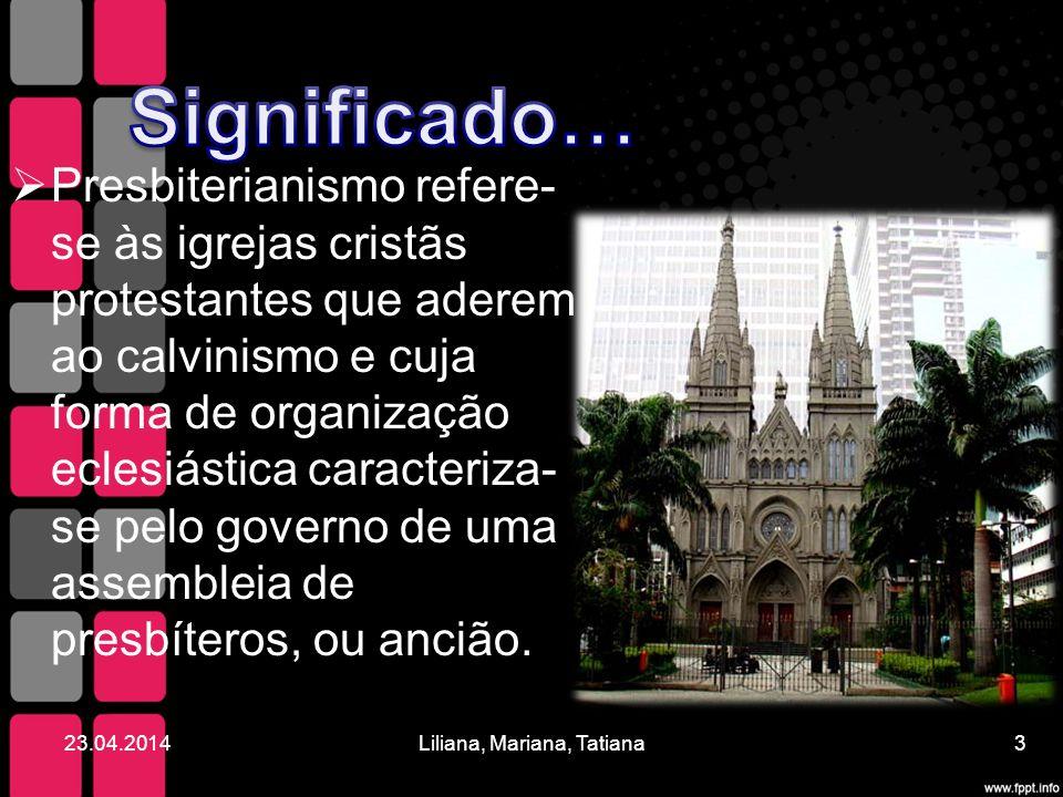 Presbiterianismo refere- se às igrejas cristãs protestantes que aderem ao calvinismo e cuja forma de organização eclesiástica caracteriza- se pelo gov