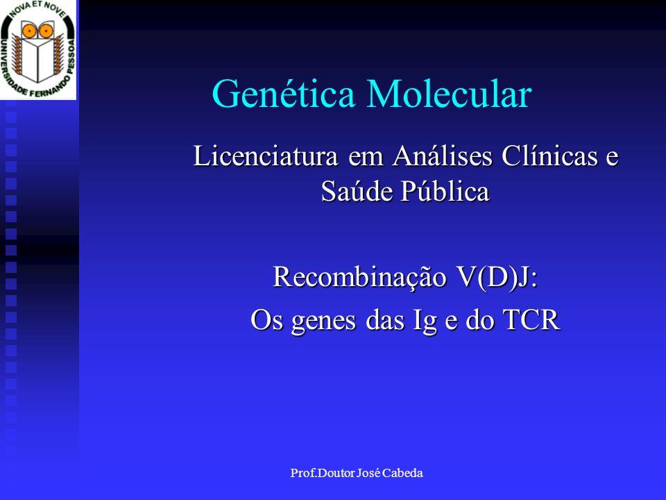 Prof.Doutor José Cabeda Genética Molecular Licenciatura em Análises Clínicas e Saúde Pública Recombinação V(D)J: Os genes das Ig e do TCR