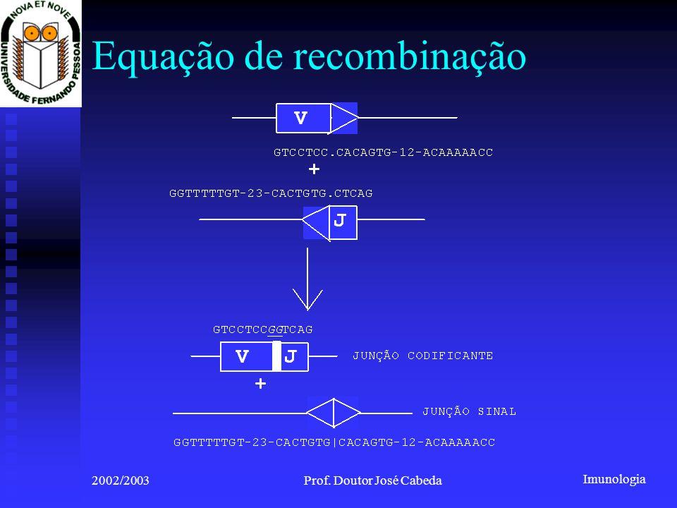 Imunologia 2002/2003Prof. Doutor José Cabeda Equação de recombinação