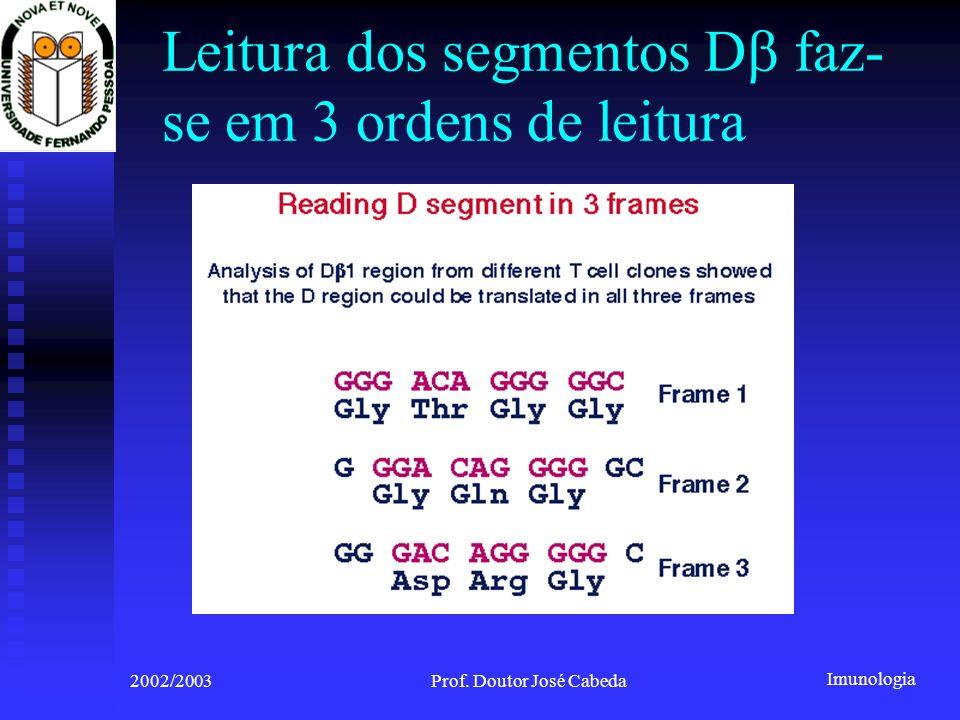 Imunologia 2002/2003Prof. Doutor José Cabeda Leitura dos segmentos D faz- se em 3 ordens de leitura