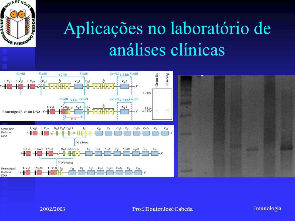 Imunologia 2002/2003Prof. Doutor José Cabeda Aplicações no laboratório de análises clínicas