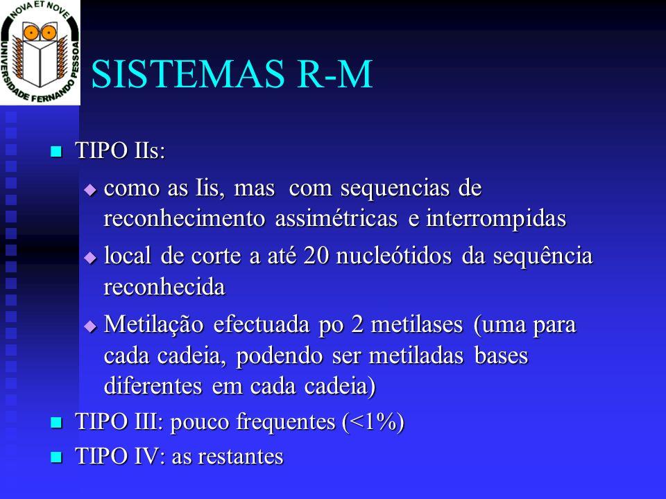 SISTEMAS R-M TIPO IIs: TIPO IIs: como as Iis, mas com sequencias de reconhecimento assimétricas e interrompidas como as Iis, mas com sequencias de rec