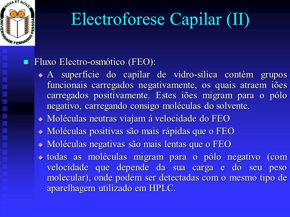 Electroforese Capilar (II) Fluxo Electro-osmótico (FEO): Fluxo Electro-osmótico (FEO): A superfície do capilar de vidro-silica contém grupos funcionai