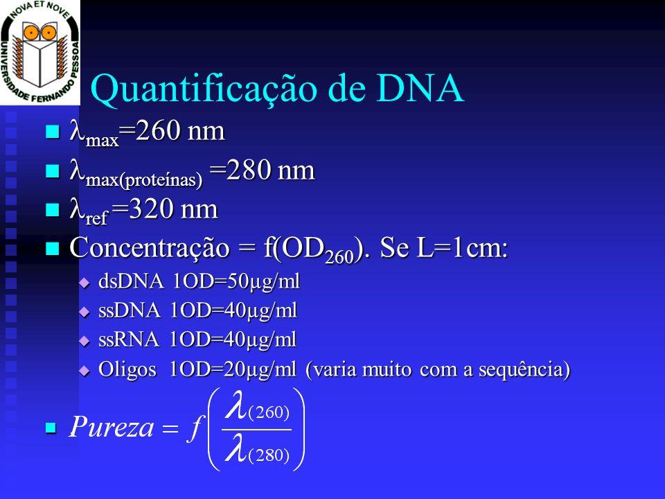 max =260 nm max =260 nm max(proteínas) =280 nm max(proteínas) =280 nm ref =320 nm ref =320 nm Concentração = f(OD 260 ). Se L=1cm: Concentração = f(OD