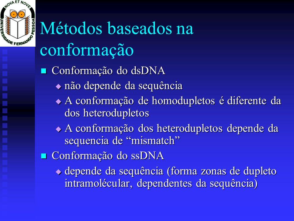 Métodos baseados na conformação Conformação do dsDNA Conformação do dsDNA não depende da sequência não depende da sequência A conformação de homoduple