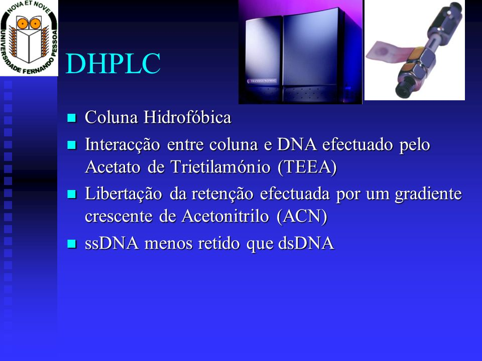 DHPLC Coluna Hidrofóbica Coluna Hidrofóbica Interacção entre coluna e DNA efectuado pelo Acetato de Trietilamónio (TEEA) Interacção entre coluna e DNA