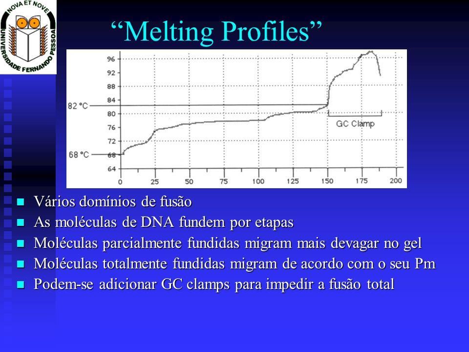 Melting Profiles Vários domínios de fusão As moléculas de DNA fundem por etapas Moléculas parcialmente fundidas migram mais devagar no gel Moléculas t