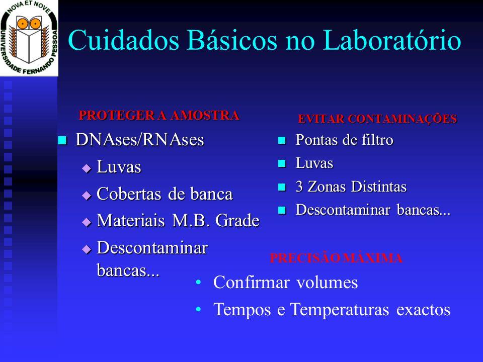 Cuidados Básicos no Laboratório PROTEGER A AMOSTRA DNAses/RNAses DNAses/RNAses Luvas Luvas Cobertas de banca Cobertas de banca Materiais M.B. Grade Ma