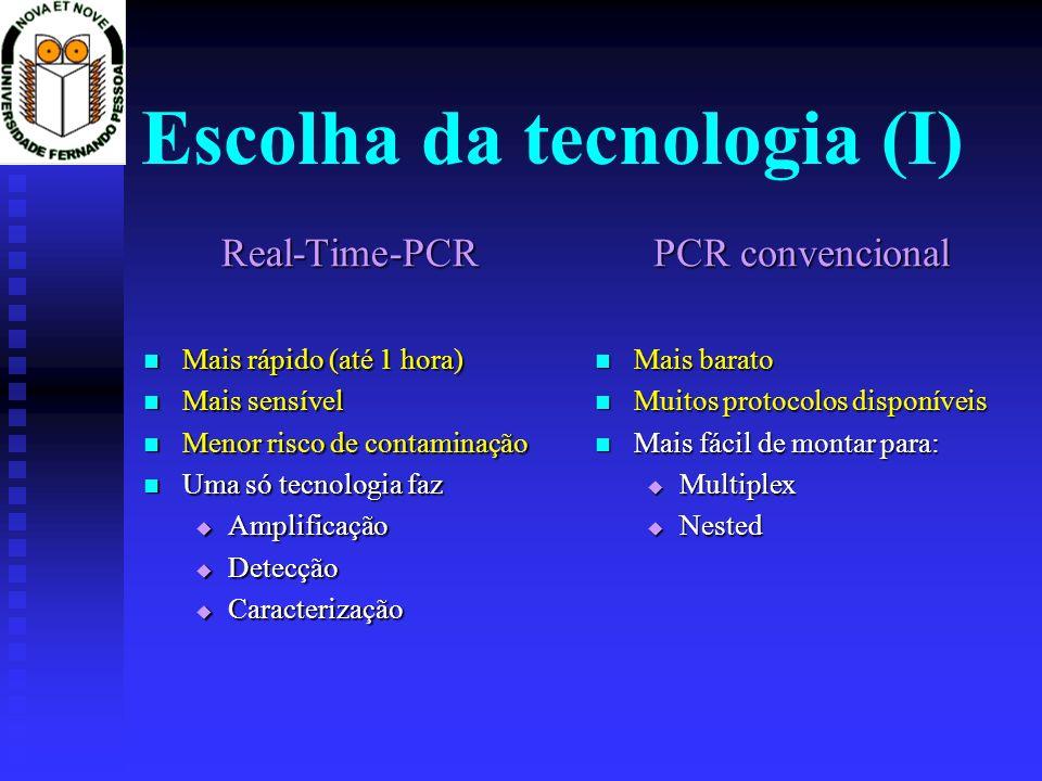 Escolha da tecnologia (I) Real-Time-PCR Mais rápido (até 1 hora) Mais rápido (até 1 hora) Mais sensível Mais sensível Menor risco de contaminação Meno