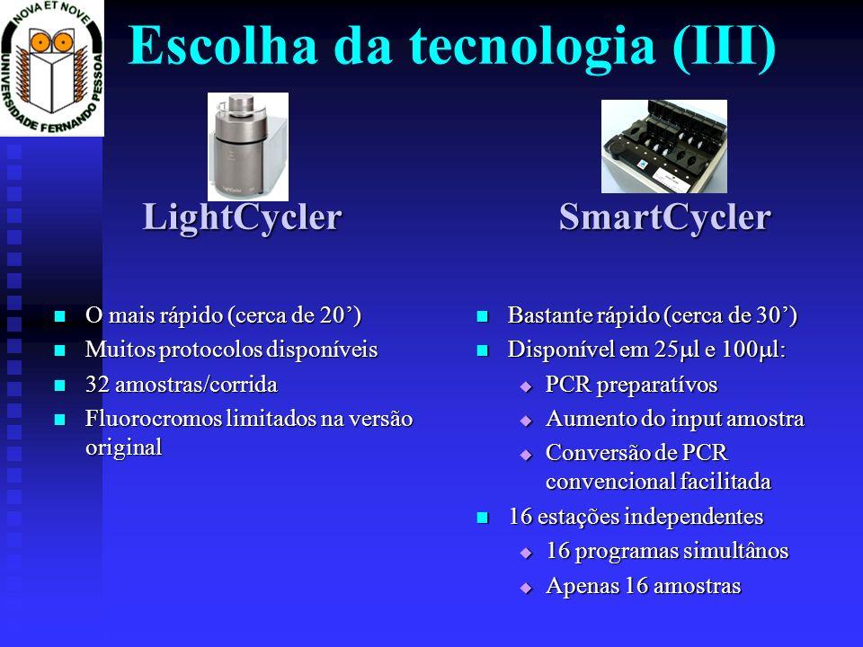 Escolha da tecnologia (III)LightCycler O mais rápido (cerca de 20) O mais rápido (cerca de 20) Muitos protocolos disponíveis Muitos protocolos disponí