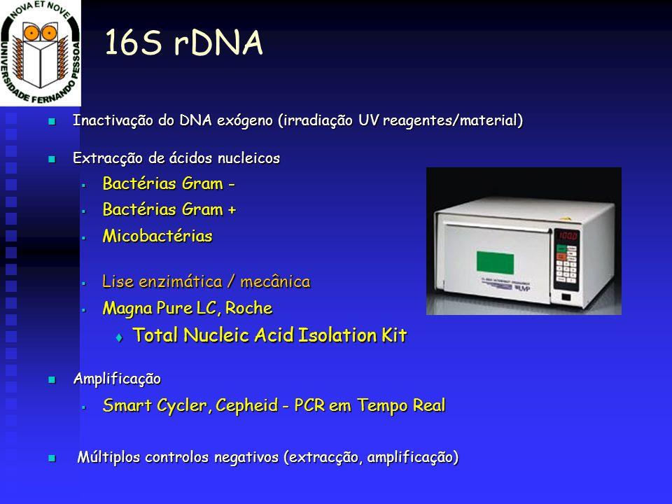 Inactivação do DNA exógeno (irradiação UV reagentes/material) Inactivação do DNA exógeno (irradiação UV reagentes/material) Extracção de ácidos nuclei