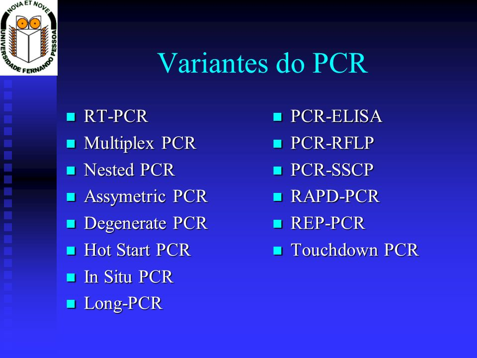 Variantes do PCR RT-PCR RT-PCR Multiplex PCR Multiplex PCR Nested PCR Nested PCR Assymetric PCR Assymetric PCR Degenerate PCR Degenerate PCR Hot Start