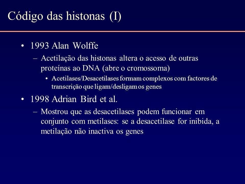 Código das histonas (I) 1993 Alan Wolffe –Acetilação das histonas altera o acesso de outras proteínas ao DNA (abre o cromossoma) Acetilases/Desacetila