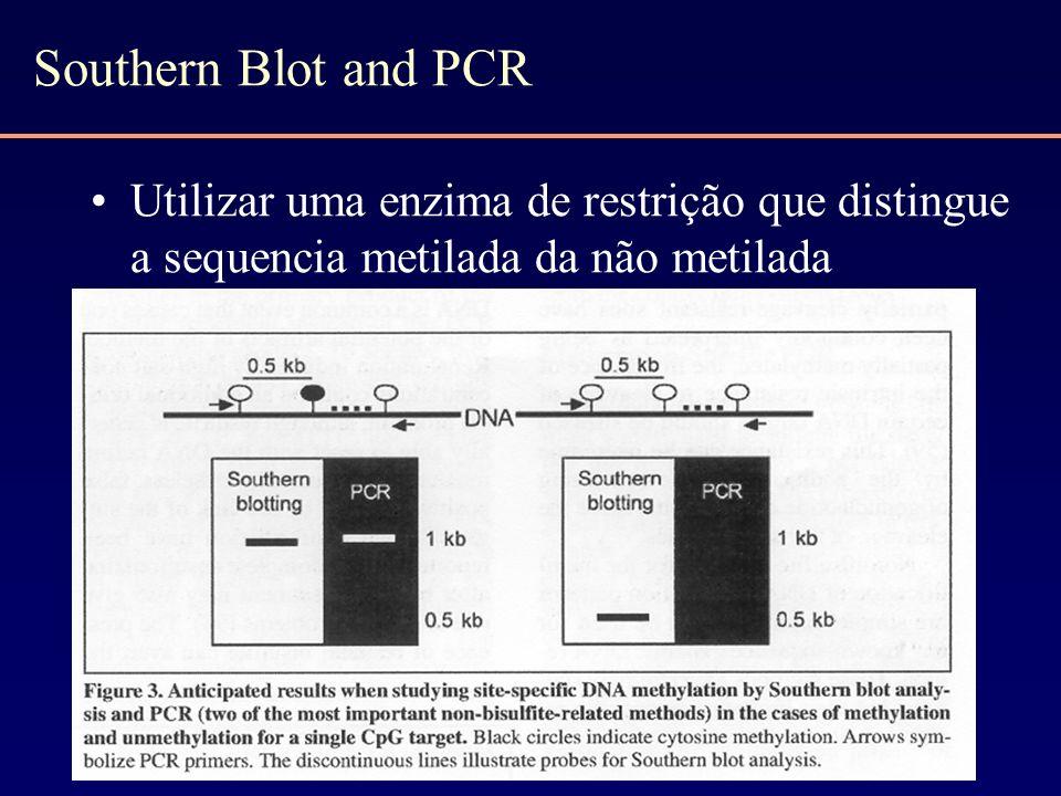Southern Blot and PCR Utilizar uma enzima de restrição que distingue a sequencia metilada da não metilada