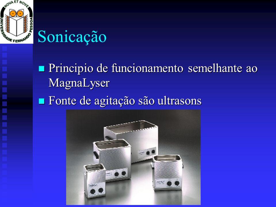 Sonicação Principio de funcionamento semelhante ao MagnaLyser Principio de funcionamento semelhante ao MagnaLyser Fonte de agitação são ultrasons Font