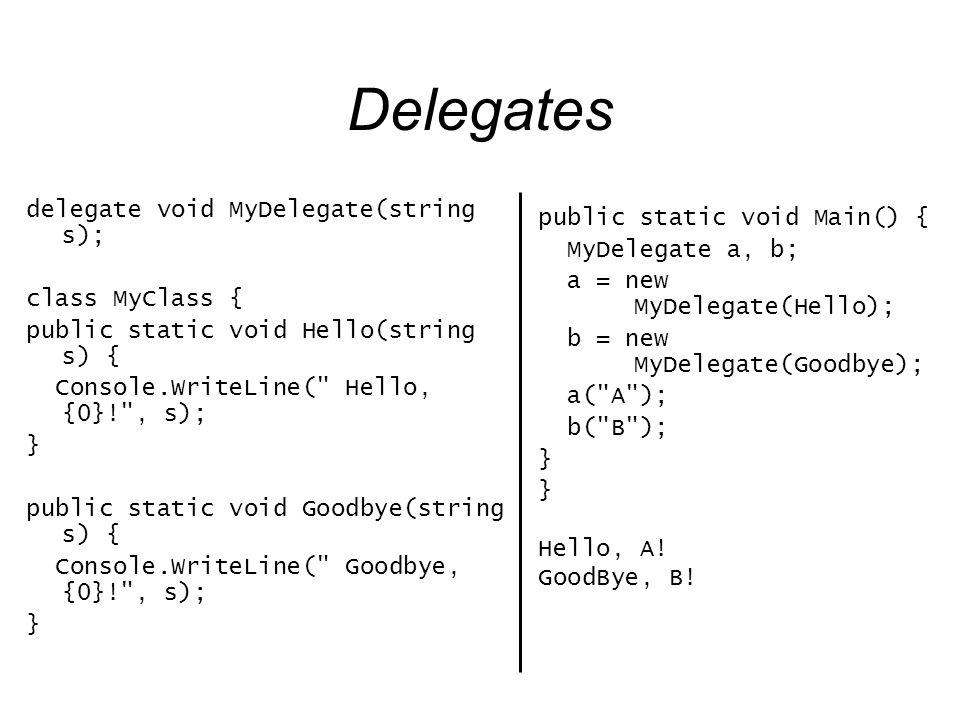 Delegates delegate void MyDelegate(string s); class MyClass { public static void Hello(string s) { Console.WriteLine(