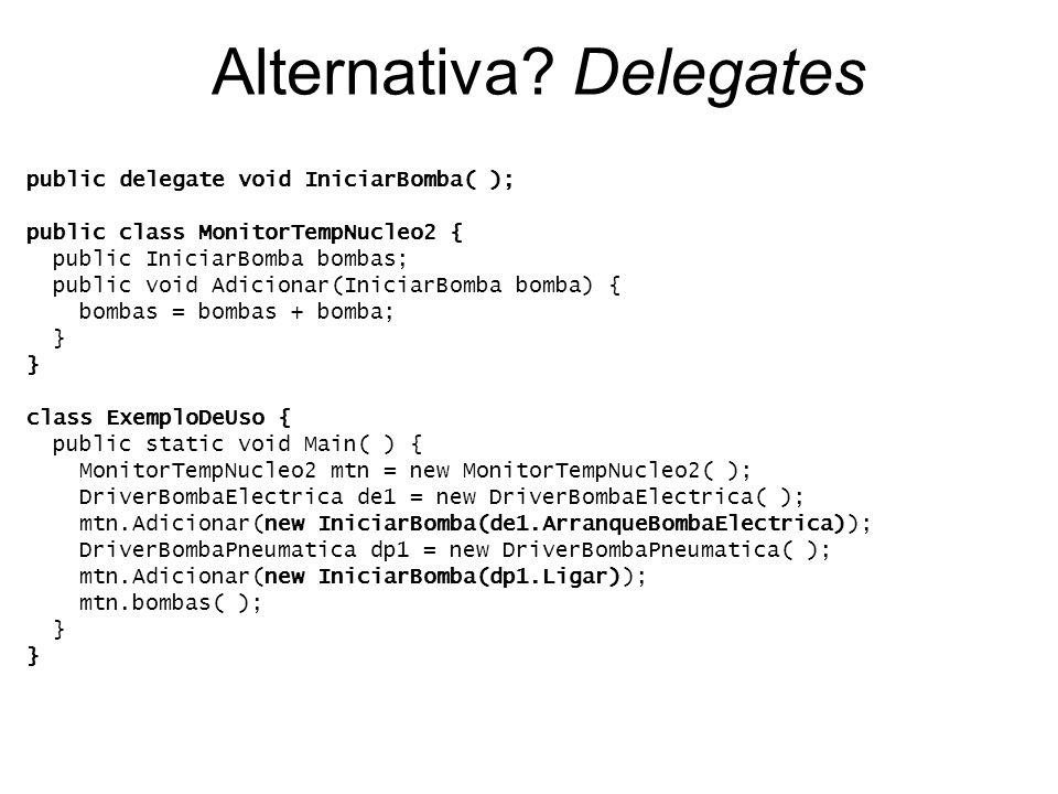 Alternativa? Delegates public delegate void IniciarBomba( ); public class MonitorTempNucleo2 { public IniciarBomba bombas; public void Adicionar(Inici