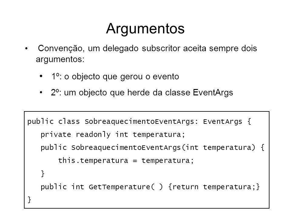 Argumentos Convenção, um delegado subscritor aceita sempre dois argumentos: 1º: o objecto que gerou o evento 2º: um objecto que herde da classe EventA