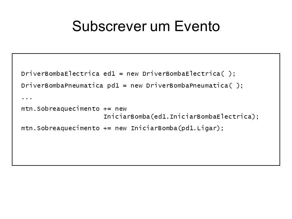 Subscrever um Evento DriverBombaElectrica ed1 = new DriverBombaElectrica( ); DriverBombaPneumatica pd1 = new DriverBombaPneumatica( );... mtn.Sobreaqu