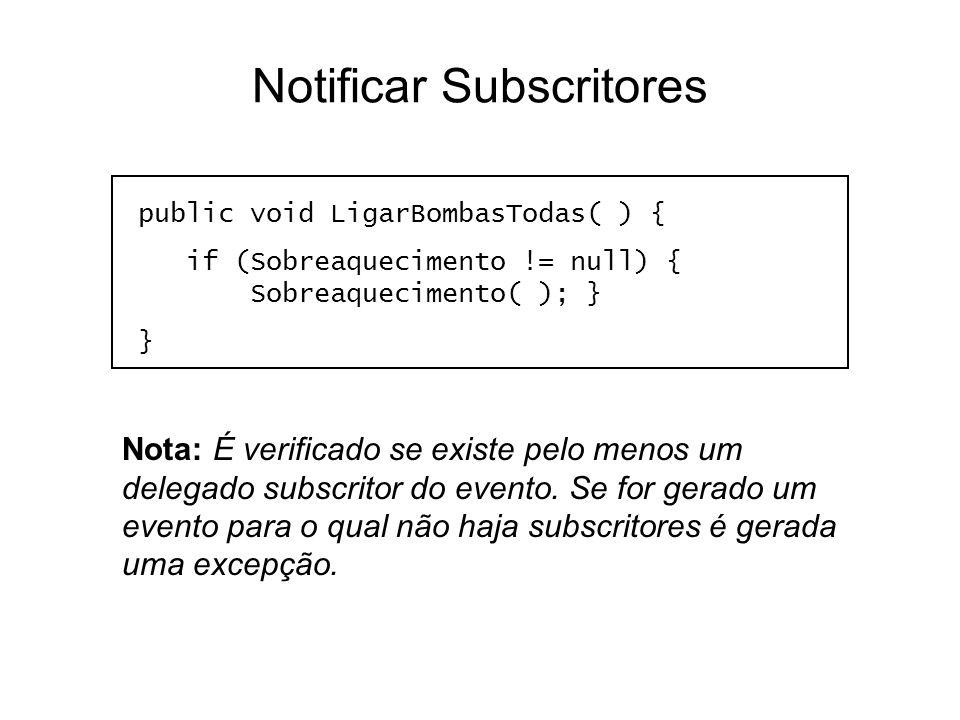 Notificar Subscritores public void LigarBombasTodas( ) { if (Sobreaquecimento != null) { Sobreaquecimento( ); } } Nota: É verificado se existe pelo me