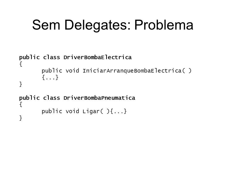 Sem Delegates: Problema public class DriverBombaElectrica { public void IniciarArranqueBombaElectrica( ) {...} } public class DriverBombaPneumatica {