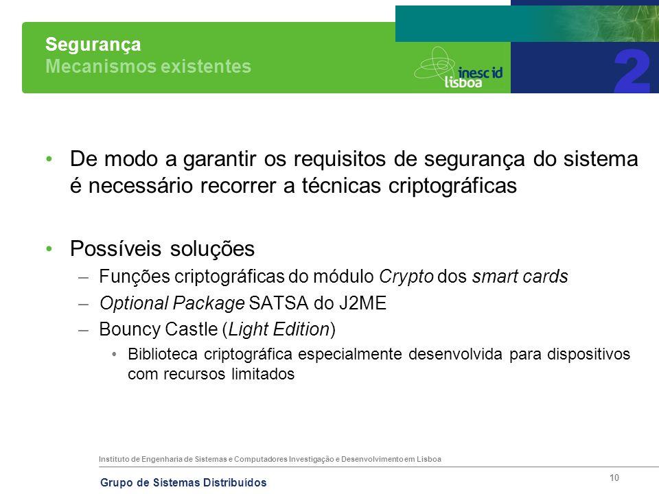 Instituto de Engenharia de Sistemas e Computadores Investigação e Desenvolvimento em Lisboa Grupo de Sistemas Distribuídos 10 Segurança Mecanismos exi