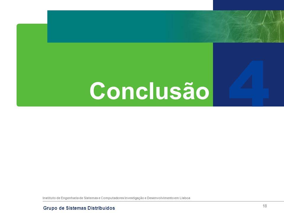 Instituto de Engenharia de Sistemas e Computadores Investigação e Desenvolvimento em Lisboa Grupo de Sistemas Distribuídos 18 4 Conclusão