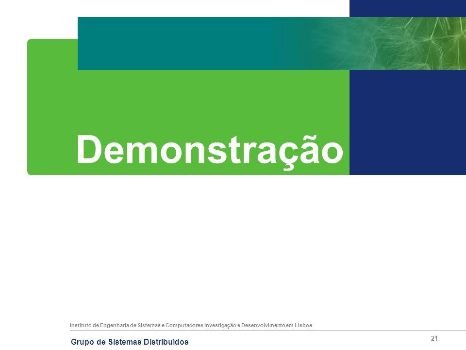 Instituto de Engenharia de Sistemas e Computadores Investigação e Desenvolvimento em Lisboa Grupo de Sistemas Distribuídos 21 Demonstração